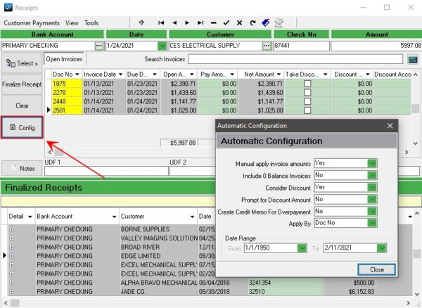 Configure how to apply Receipts