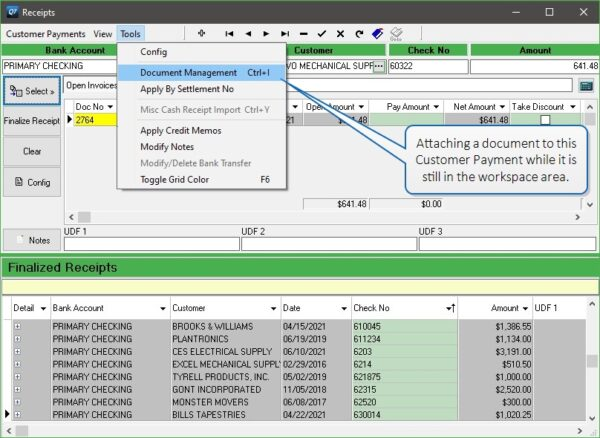 Use the Tools drop down to add documents to an in-progress Customer Payment.