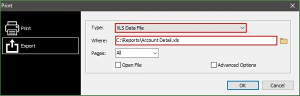 Choose XLS Data File as the Type and browse to the output directory of your choice.