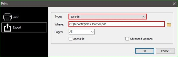 Choose PDF File as the Type and browse to the output directory of your choice.