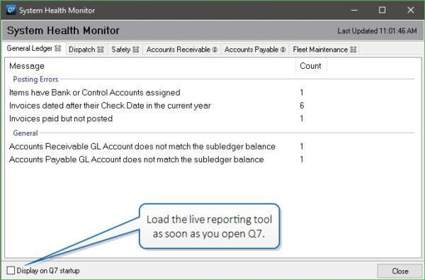 System Health Monitor reports on general ledger errors.